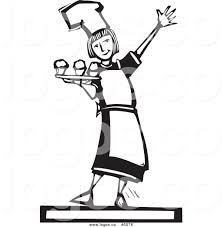 woman cooking clipart black and white.  White Clipart  Royalty Free Vector Of A Black And White Girl Serving  Cupcakes Logo By For Woman Cooking O