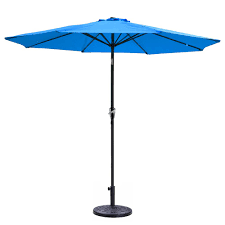 9ft aluminum outdoor blue patio umbrella 8 ribs w crank tilt base stand deck