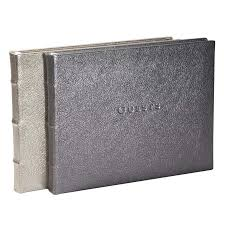 library bound leather guest book metallic white gold metallic silver blue sky papers