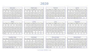 Microsoft Excel Calendar 2020 Blank 2020 Calendar Printable Templates Calendar 2020
