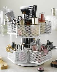 one of many creative ways to organize makeup is by storing it in a cosmetic carousel