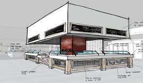 architecture house sketch. Beautiful Sketch Pictured Concept Sketch For A Servery Station Liberty Mutual For Architecture House Sketch H
