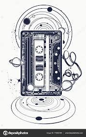 Audiokazeta Hudba Poznámky A Universe Tetování Stock Vektor