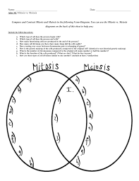 Venn Diagram Comparing Meiosis And Mitosis Name Date Aim 36 Mitosis Vs Meiosis Compare And Contrast