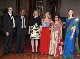 Cory Wilcocks, Prosenjit Gupta, Olga Ellison, Julie Espinosa, Subhasree  Sengupta and Madelyn Mahon during the 'American National Day' celebrations  organised at Hyatt hotel in Kolkata - Photogallery