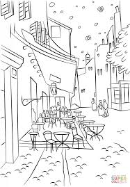 Small Picture Cafe Terrace at Night by Vincent Van Gogh coloring page Free