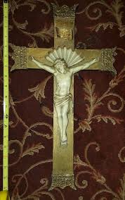 crucifix large wooden cross church vintage antique christ carved wood 1809612751