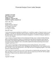 Financial Analyst Cover Letter Example All About Letter
