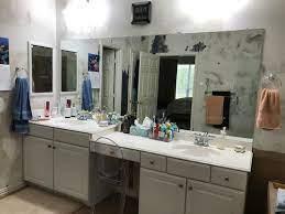 large builder grade bathroom mirror