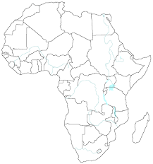 African Empty Map With Political Borders And Main Rivers And Lakes