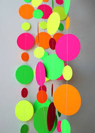 MA Neon decorations Hawaiian party Birthday party decor Pink orange yellow  green neon garland Summer decoration