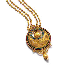 22 kt gold long necklace with a crescent pendant pendant sets azva
