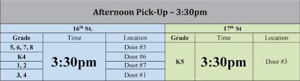 Dismissal Chart School Arrival Dismissal Middle School Near Me