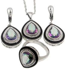 hermosa fashion jewelry sets white topaz water droped mystic fire topaz necklace earrings ring