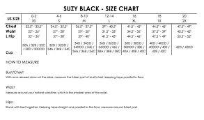34dd Size Chart Size Chart Suzy Black Nyc