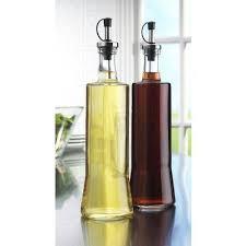 glass oil and vinegar cruet dispenser 20oz set of 2 black caps sleek kitchen