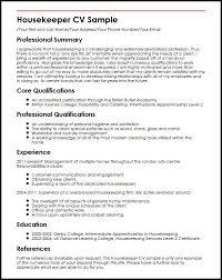 Housekeeper Cv Sample Photo Image Housekeeping Resume Sample It