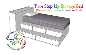 twin platform bed with drawers. Twin Step Up Storage Bed Platform With Drawers G
