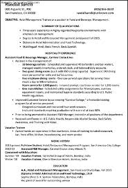 sle resume format for hotel industry resume hotel management