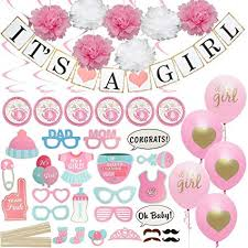 Baby Shower Decorations For Girl Includes Matching Its A Girl Banner Balloons Cute Photo Booth Props Pink White Flower Decor And More