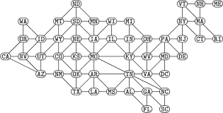 Given a graph g=(v,e) with n vertices and m edges, the aim is to color the vertices of the graph g by a minimum number of colors called the chromatic number such that no two adjacent. Contiguous Usa Graph From Wolfram Mathworld