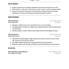 childcare resume sample resume for child care resume objective for childcare  no experience