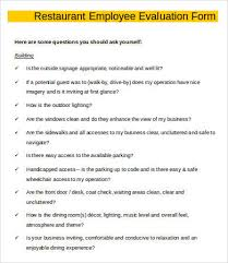 Employee Evaluation Forms Examples Employee Evaluation Form Template 13 Free Word Pdf Documents