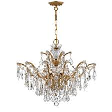 crystorama lighting group ore antique gold 20 inch six light crystal chandelier ii