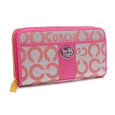 Coach Legacy In Signature Large Pink Wallets BVU