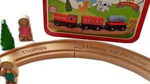 personalised engraved wooden my first train set toddler gift in tin