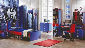 Bedroom. Blue Spiderman Wall Theme And Blue Red Wooden Bed On Grey Wooden  Laminate Floor