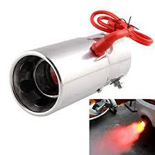 <b>Exhaust</b> Pipe <b>Muffler</b> Tip Spitfire <b>LED</b> Red <b>Light</b> Flaming Universal ...