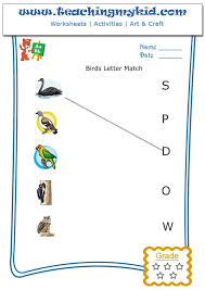 Match The Bird With The First Letter Of Their Name Archives ...