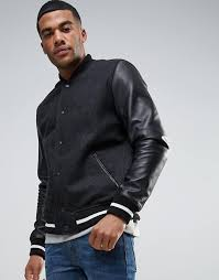 asos asos wool mix varsity jacket with leather sleeves men black