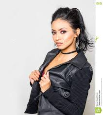 beautiful young woman wearing leather