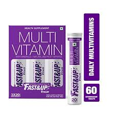 Multivitamin Effectiveness Chart Fast Up Vitalize Mutivitamin Supplements One Daily With Natural Beetroot Extract For Men And Women 60 Effervescent Tablets Orange Flavour