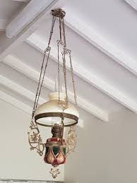 antique dutch hanging oil lamp