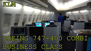 Klm Boeing 747 400 Combi Business Class Lower Deck Amsterdam New York Jfk