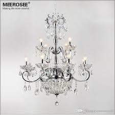 vintage 12 arms clear crystal chandelier light crystal re suspension hanging light for foyer lobby md6646 l12 d800mm h820mm crystal chandelier clear