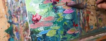 impressionist oil painting demo tutorial of waterlilies palette knife impasto by jose trujillo