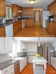 White Kitchen Cupboard Paint Diy White Painted Kitchen Cabinets Reveal Painting Oak Cabinets