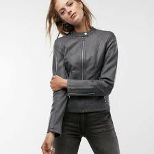 details about new express women s minus the leather double peplum jacket grey