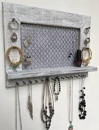 Wall Jewelry Organizer Wall Mounted Wooden Jewelry Organizer Home