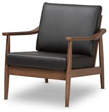 venza mid century modern walnut wood black faux leather lounge chair midcentury armchairs and accent chairs by baxton studio