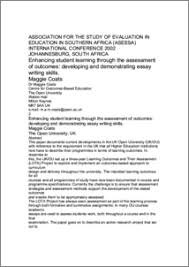 enhancing student learning through the assessment of outcomes  enhancing student learning through the assessment of outcomes developing and demonstrating essay writing skills