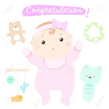 Congratulation New Adorable Baby Girl Vector Illustration Royalty