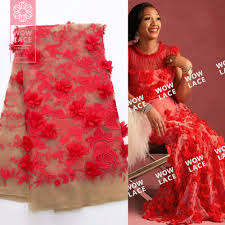 Red Net Dress Design Us 67 32 49 Off 3d Red Flower Applique African Net Lace Fabric Beautiful Style Ankara Nigerian Embroidered Mesh Laces 3d Dresses Tulle Fabrics In
