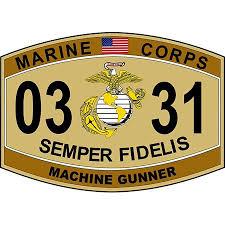 Usmc 0331 Machinegunner Marine Corps Mos 0331 Desert Tan 11 75 Inch Decal