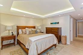 The use of lighting in the tray ceiling here really adds some visual spark  to this master bedroom's design.