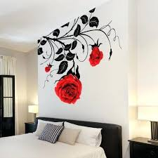 red rose wall decor large graphics rose wall art stickers red blossom stripe pattern wonderful decoration handmade premium material red and white rose wall